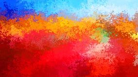 提取在火红的橙色颜色-现代绘画艺术的被弄脏的样式长方形背景蓝天-水彩effe 向量例证