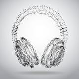 提取在白色抽象多角形背景的被加点的耳机 免版税库存照片