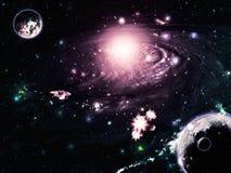提取空间星系 库存图片
