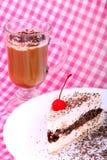 提拉米苏和杯子片断在方格的桌布的热奶咖啡 库存图片