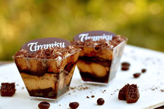 提拉米苏小玻璃近的巧克力片,在绿色背景关闭-意大利烹调的咖啡豆 免版税库存图片