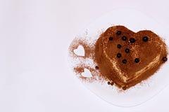提拉米苏蛋糕,蛋糕提拉米苏用莓果 免版税库存图片