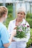 提植物建议的职员女性顾客在园艺中心 免版税库存图片