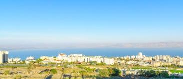 提比里亚和加利利海全景  免版税库存图片