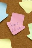 提示稠粘的笔记起动饮食 免版税库存照片