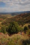 提高红色岩石足迹的远足者 图库摄影