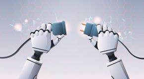 插入插座插口的机器人手准备好连接油罐顶部角钢视图人工智能数字未来派 向量例证