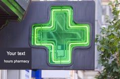 插入文本的药房标志 免版税库存图片