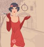 插板女孩被设置:葡萄酒妇女in1920s样式 库存例证
