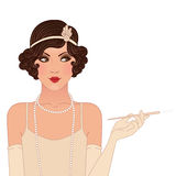 插板女孩被设置:20世纪20年代的年轻美丽的妇女。葡萄酒样式 免版税库存图片