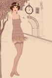 插板女孩被设置: 葡萄酒妇女in1920s样式 库存照片