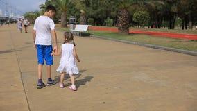 握他的哥哥的手的姐妹,孩子由海走在一好日子,愉快的童年 股票录像