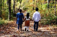握在一条道路的孩子手在森林 库存照片