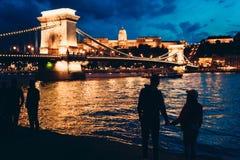 握在多瑙河河岸的手和享受美好的风景视图的爱恋的夫妇的两个剪影 免版税图库摄影