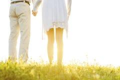 握在草的夫妇中央部位后面视图手反对天空 免版税图库摄影