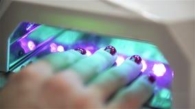 握她的在被带领的灯的妇女特写镜头手烘干胶凝体指甲油 在烘干工具的手 t 影视素材