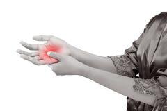 握她的手,痛苦概念的妇女 图库摄影