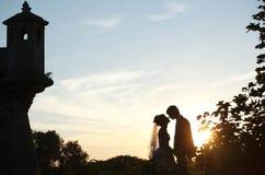 握手和亲吻在背景城堡的柔和的夫妇  图库摄影