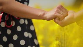 握手和拥抱在菜子领域的爱恋的夫妇 股票视频