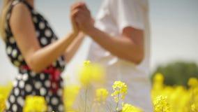 握手和拥抱在菜子领域的爱恋的夫妇 影视素材