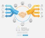 握手和箭头企业Infographics样式的商人 免版税库存图片