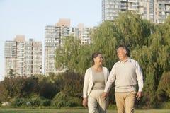 握手和走在公园的愉快的成熟夫妇 库存图片
