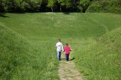 握手和走通过往森林的绿色领域的两个小男孩背面图  库存图片
