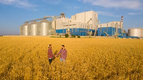 握手在麦田,农夫` s协议的人们 背景的谷物仓库终端 农业农艺师 免版税库存图片