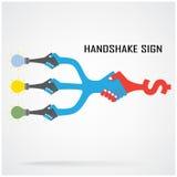 握手抽象标志传染媒介设计模板 免版税库存图片