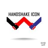 握手抽象标志设计模板。 免版税库存照片