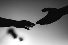 握手本质上黑白 库存照片