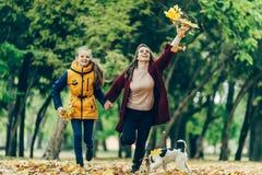 握手的两个姐妹,当走在秋天公园时 免版税库存图片