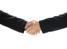 握手的事务隔绝在白色背景 免版税图库摄影