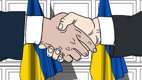 握手的商人或政客反对乌克兰的旗子 会议或合作相关动画片动画 库存例证
