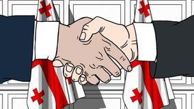 握手的商人或政客反对乔治亚旗子  会议或合作相关动画片动画 皇族释放例证