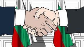握手的商人或政客反对保加利亚的旗子 会议或合作相关动画片动画 皇族释放例证