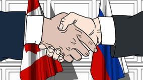 握手的商人或政客反对加拿大和俄罗斯的旗子 会议或合作相关动画片 皇族释放例证