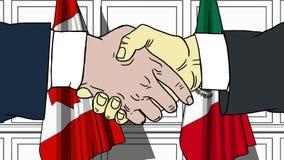 握手的商人或政客反对加拿大和墨西哥的旗子 会议或合作相关动画片 向量例证