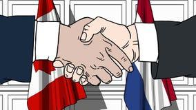 握手的商人或政客反对加拿大和荷兰的旗子 会议或合作相关动画片 库存例证