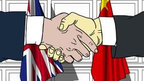 握手的商人或政客反对大英国和中国的旗子 相关的会议或合作 皇族释放例证