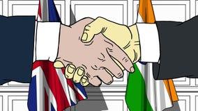 握手的商人或政客反对大英国和印度的旗子 相关的会议或合作 库存例证