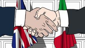 握手的商人或政客反对大英国和意大利的旗子 相关的会议或合作 库存例证