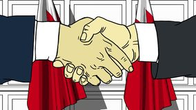 握手的商人或政客反对巴林的旗子 会议或合作相关动画片动画 库存例证