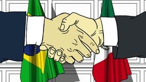 握手的商人或政客反对巴西和墨西哥的旗子 会议或合作相关动画片 库存例证