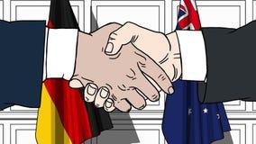 握手的商人或政客反对德国和澳大利亚的旗子 会议或合作相关动画片 库存例证