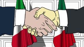 握手的商人或政客反对意大利和墨西哥的旗子 会议或合作相关动画片 皇族释放例证