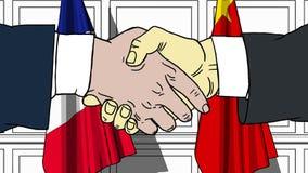 握手的商人或政客反对法国和中国的旗子 会议或合作相关动画片 向量例证