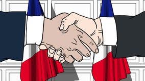 握手的商人或政客反对法国的旗子 会议或合作相关动画片动画 向量例证