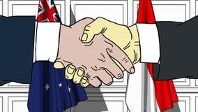 握手的商人或政客反对澳大利亚和印度尼西亚的旗子 相关的会议或合作 皇族释放例证