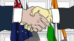 握手的商人或政客反对澳大利亚和印度的旗子 会议或合作相关动画片 库存例证